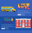 back to school set of banners on blue background vector image vector image