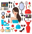 Beauty Cosmetic and Makeup flat Icons Set vector image