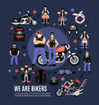 bikers icons set vector image