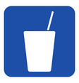 blue white sign - drink with straw icon vector image vector image
