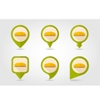 Bread flat mapping pin icon with long shadow vector image