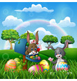 cartoon happy easter with bunnies on the nature vector image vector image