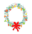 Christmas Wreath with Price Tag and Red Bow vector image