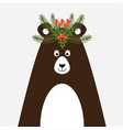 cute christmas card with a picture a bear vector image vector image