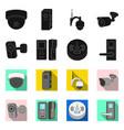 design of cctv and camera icon set of cctv vector image