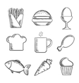 Food and drinks sketched icons set vector image vector image