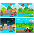 Four scene of rural and urban area vector image