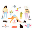 fun cleaning lady or housekeeper or a woman doing vector image vector image