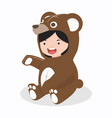 girl characters in bear costume vector image vector image