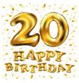 golden number 20 twenty metallic balloon party vector image vector image