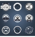 Gun shop logotypes and badges set vector image vector image