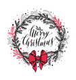 hand drawn new years wreath with red bow vector image vector image