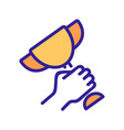 holding winning cup in hand icon outline vector image vector image