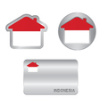 Home icon on the Indonesia flag vector image vector image