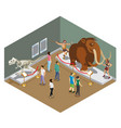 Isometric museum exhibition concept vector image