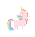 lovely unicorn holding gift box cute fantasy vector image