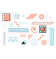 memphis design geometric elements set retro vector image