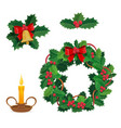 merry christmas decorations holly berry decor vector image vector image