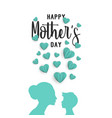 mother day paper art greeting card with little vector image