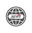 news icon world globe symbol breaking news live vector image