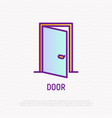 opened door thin line icon vector image