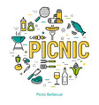 picnic barbecue - round linear concept vector image vector image