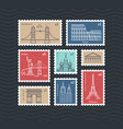 postage stamps with line travelling city national vector image vector image