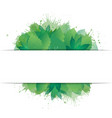 postcard with green leaves watercolor spray and vector image