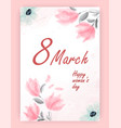 pretty feminine pink woman s day card design vector image vector image