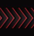 red neon arrow pattern direction on dark grey vector image vector image