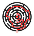 round maze with red path to center vector image vector image