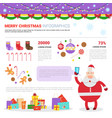 santa holding cell smart phone on merry christmas vector image