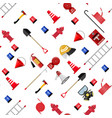 seamless firefighting set pattern vector image