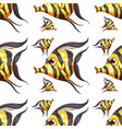 seamless pattern tile cartoon with fish vector image vector image