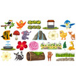 set animal and plant vector image vector image