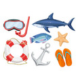 set of marine beach objects vector image vector image