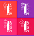 set of posters fresh juice with blackberries vector image vector image