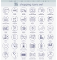 shopping outline icon set Elegant thin vector image vector image