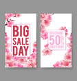 spring sale banners sakura flowers flyers vector image vector image