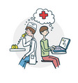 the patient consults a doctor icon vector image vector image