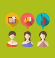 three woman with speech and thought bubbles flat vector image vector image