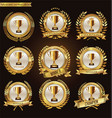 trophy and awards laurel wreath and badge vector image vector image