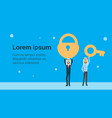 two arab businessman leader hold lock and key vector image vector image