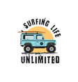 vintage surf emblem with retro woodie car surfing vector image vector image