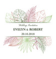 wedding invitation card in pastel colors vector image vector image