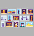 world cities post stamps travel postage stamp vector image