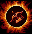 zodiac sign of sagittarius in fire circle vector image vector image