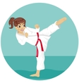 Young teenager red belt karate girl in kimono vector image