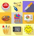 art school icons set flat style vector image