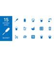 15 bucket icons vector image vector image